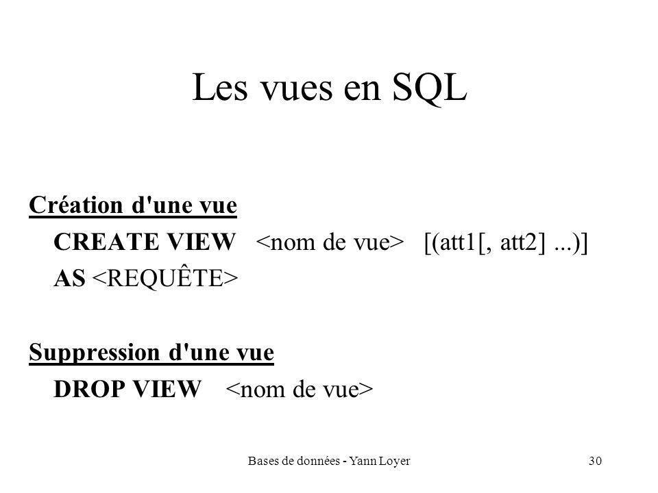 Bases de données - Yann Loyer30 Les vues en SQL Création d une vue CREATE VIEW [(att1[, att2]...)] AS Suppression d une vue DROP VIEW