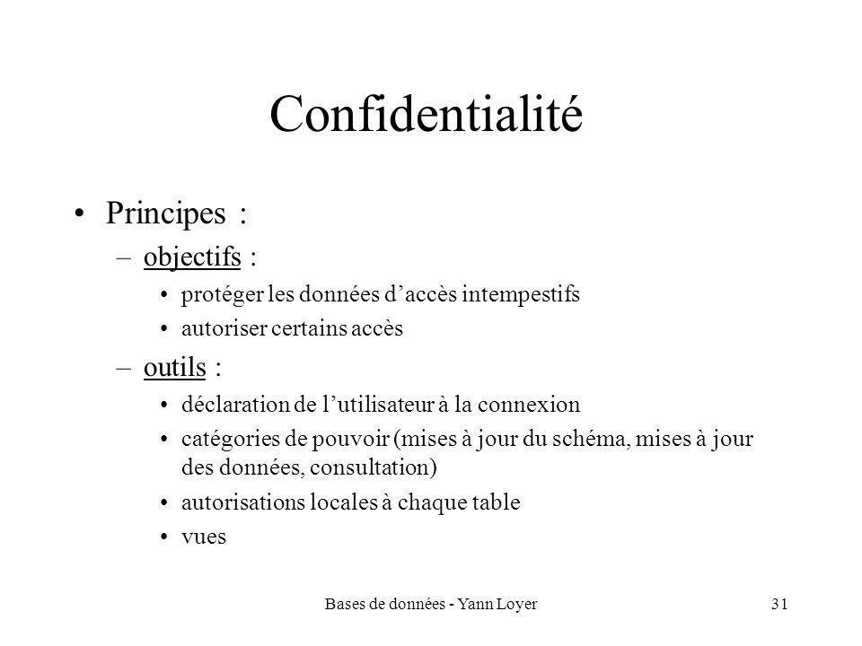 Bases de données - Yann Loyer31 Confidentialité Principes : –objectifs : protéger les données d'accès intempestifs autoriser certains accès –outils : déclaration de l'utilisateur à la connexion catégories de pouvoir (mises à jour du schéma, mises à jour des données, consultation) autorisations locales à chaque table vues