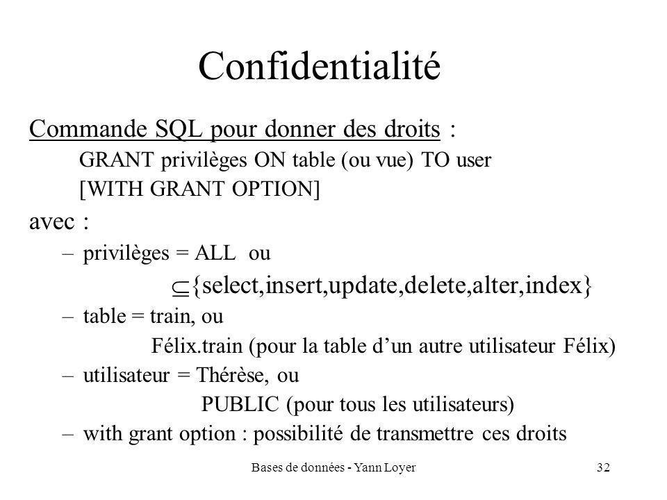 Bases de données - Yann Loyer32 Confidentialité Commande SQL pour donner des droits : GRANT privilèges ON table (ou vue) TO user [WITH GRANT OPTION] avec : –privilèges = ALL ou  {select,insert,update,delete,alter,index} –table = train, ou Félix.train (pour la table d'un autre utilisateur Félix) –utilisateur = Thérèse, ou PUBLIC (pour tous les utilisateurs) –with grant option : possibilité de transmettre ces droits