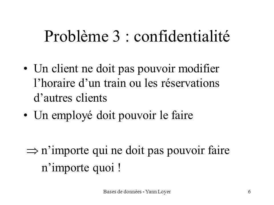 Bases de données - Yann Loyer6 Problème 3 : confidentialité Un client ne doit pas pouvoir modifier l'horaire d'un train ou les réservations d'autres clients Un employé doit pouvoir le faire  n'importe qui ne doit pas pouvoir faire n'importe quoi !