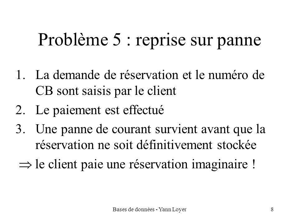 Bases de données - Yann Loyer8 Problème 5 : reprise sur panne 1.La demande de réservation et le numéro de CB sont saisis par le client 2.Le paiement est effectué 3.Une panne de courant survient avant que la réservation ne soit définitivement stockée  le client paie une réservation imaginaire !