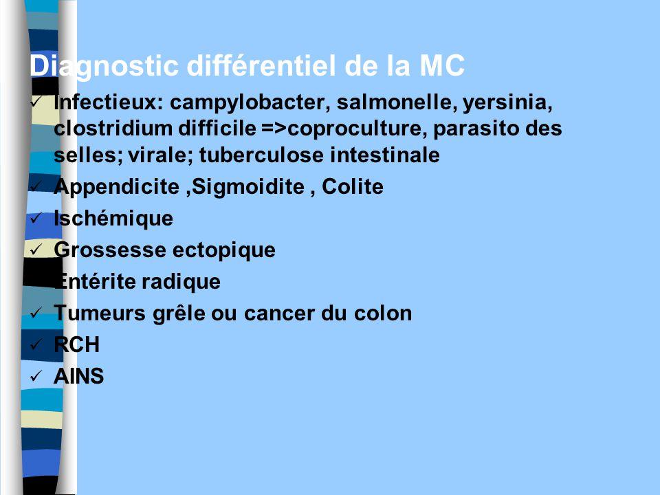 Diagnostic différentiel de la MC Infectieux: campylobacter, salmonelle, yersinia, clostridium difficile =>coproculture, parasito des selles; virale; t