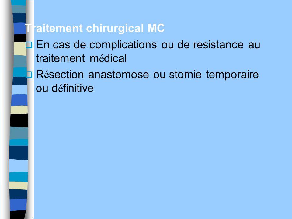 Traitement chirurgical MC  En cas de complications ou de resistance au traitement m é dical  R é section anastomose ou stomie temporaire ou d é fini
