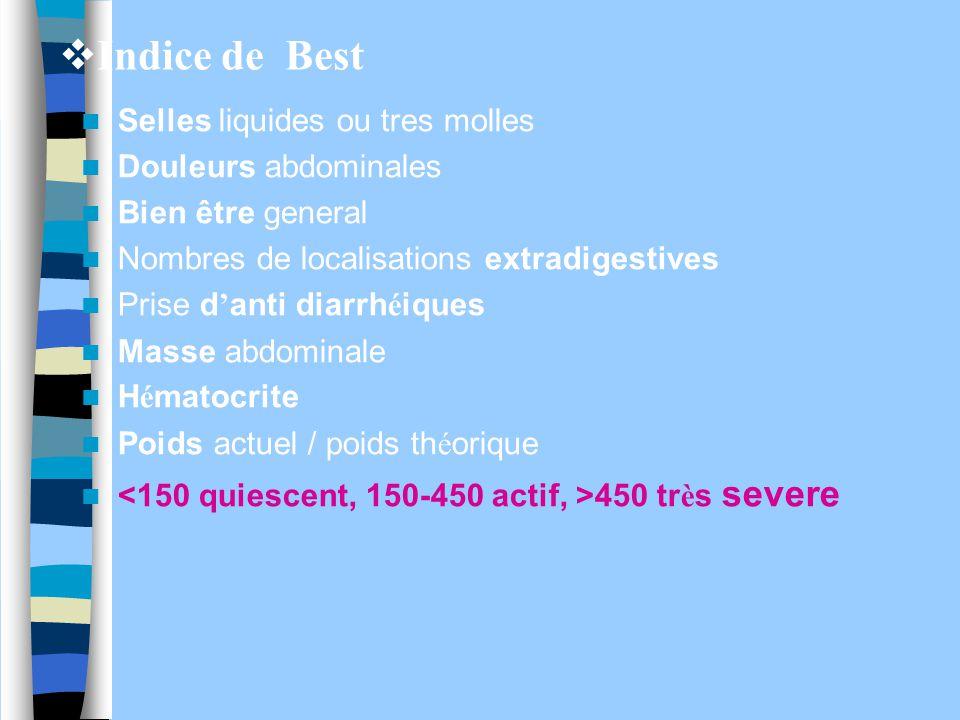  Indice de Best Selles liquides ou tres molles Douleurs abdominales Bien être general Nombres de localisations extradigestives Prise d ' anti diarrh