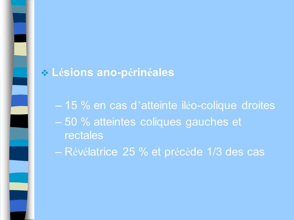  L é sions ano-p é rin é ales –15 % en cas d ' atteinte il é o-colique droites –50 % atteintes coliques gauches et rectales –R é v é latrice 25 % et
