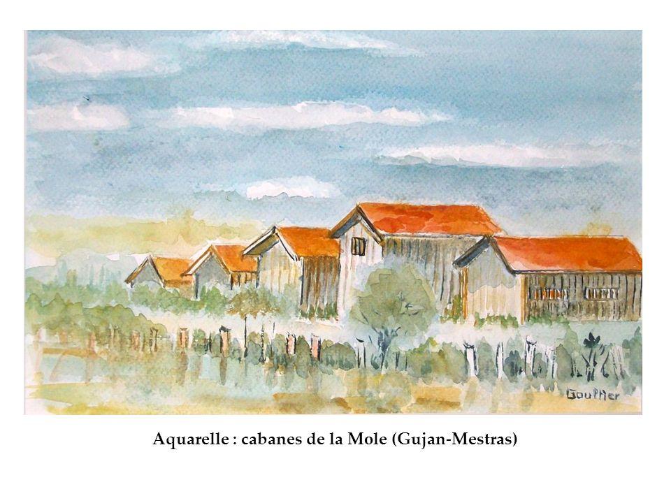 Aquarelle : cabanes de la Mole (Gujan-Mestras)