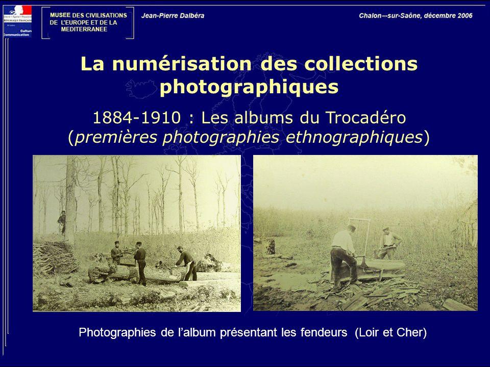 La numérisation des collections photographiques 1884-1910 : Les albums du Trocadéro (premières photographies ethnographiques) Photographies de l'album présentant les fendeurs (Loir et Cher)