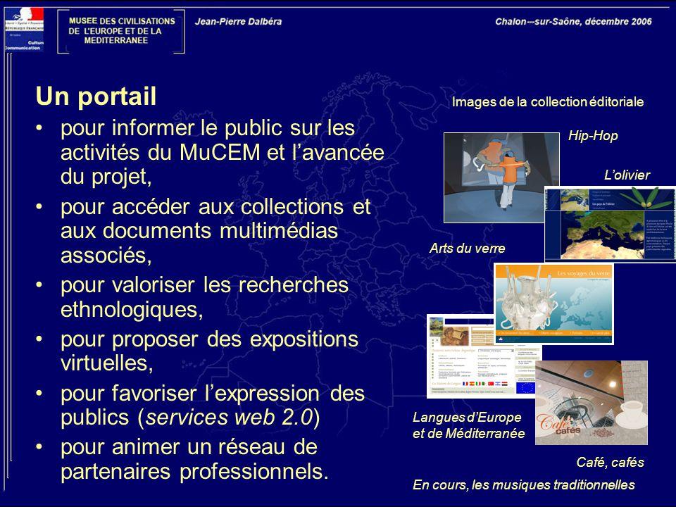 Un portail pour informer le public sur les activités du MuCEM et l'avancée du projet, pour accéder aux collections et aux documents multimédias associés, pour valoriser les recherches ethnologiques, pour proposer des expositions virtuelles, pour favoriser l'expression des publics (services web 2.0) pour animer un réseau de partenaires professionnels.