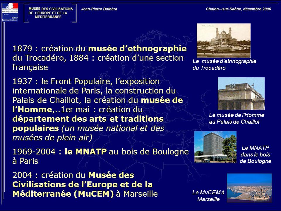 1879 : création du musée d'ethnographie du Trocadéro, 1884 : création d'une section française 1937 : le Front Populaire, l'exposition internationale d