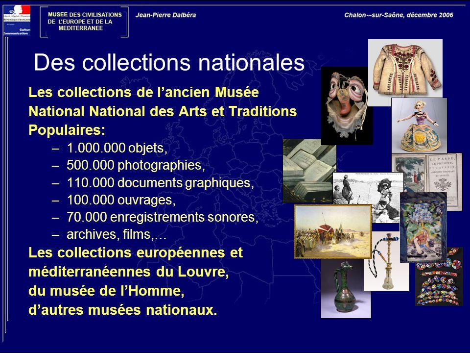 Des collections nationales Les collections de l'ancien Musée National National des Arts et Traditions Populaires: –1.000.000 objets, –500.000 photogra