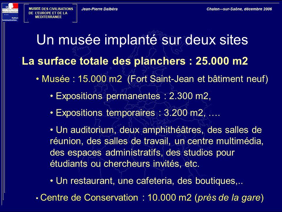 Un musée implanté sur deux sites La surface totale des planchers : 25.000 m2 Musée : 15.000 m2 (Fort Saint-Jean et bâtiment neuf) Expositions permanen