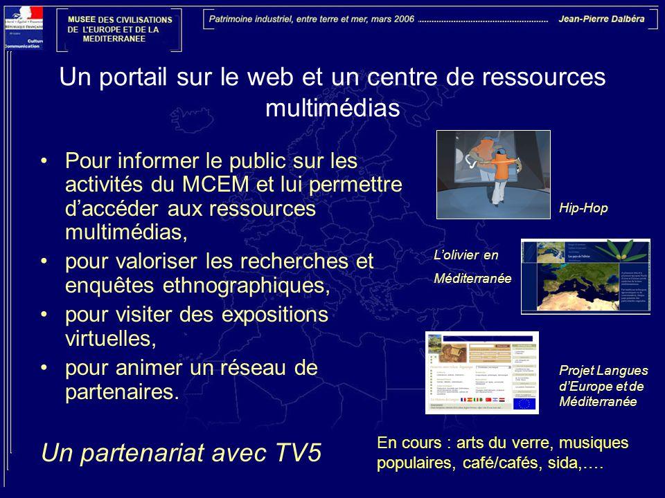 Un portail sur le web et un centre de ressources multimédias Pour informer le public sur les activités du MCEM et lui permettre d'accéder aux ressources multimédias, pour valoriser les recherches et enquêtes ethnographiques, pour visiter des expositions virtuelles, pour animer un réseau de partenaires.