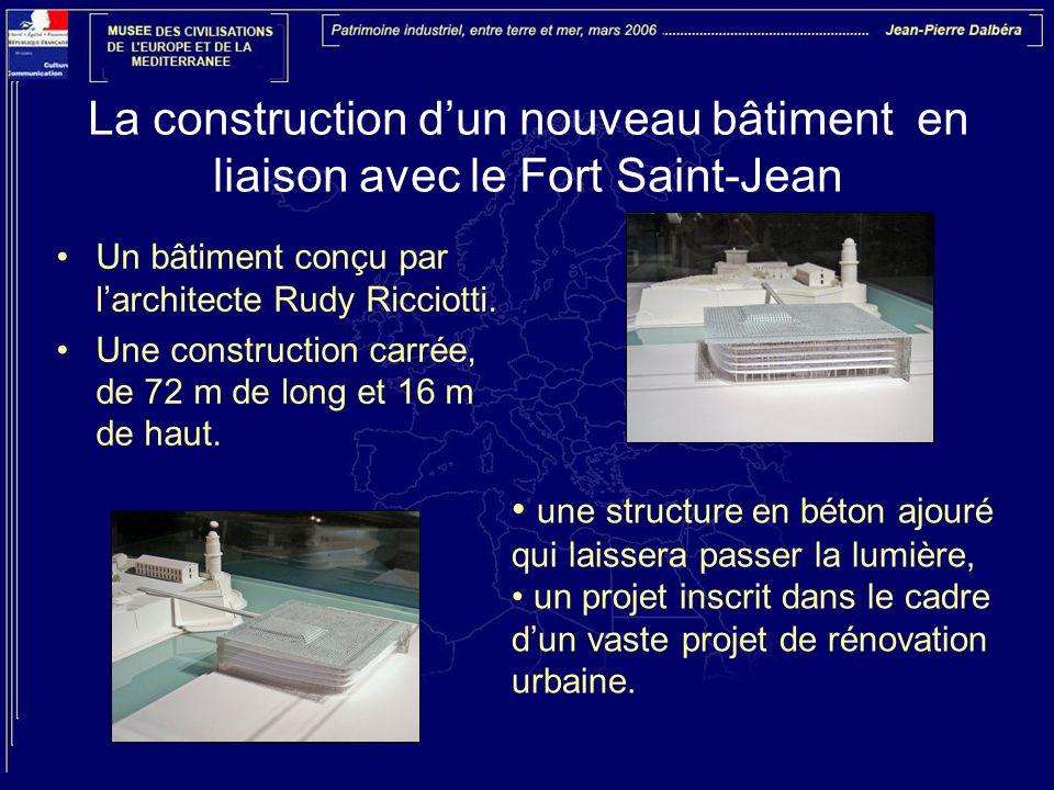 La construction d'un nouveau bâtiment en liaison avec le Fort Saint-Jean Un bâtiment conçu par l'architecte Rudy Ricciotti.
