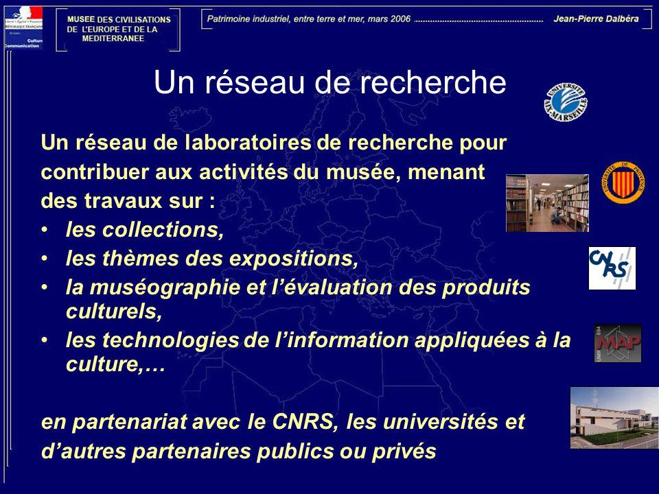 Un réseau de recherche Un réseau de laboratoires de recherche pour contribuer aux activités du musée, menant des travaux sur : les collections, les thèmes des expositions, la muséographie et l'évaluation des produits culturels, les technologies de l'information appliquées à la culture,… en partenariat avec le CNRS, les universités et d'autres partenaires publics ou privés