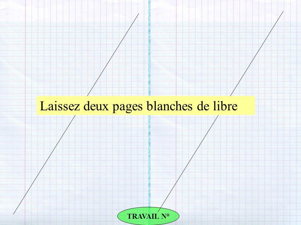 TRAVAIL N° Laissez deux pages blanches de libre
