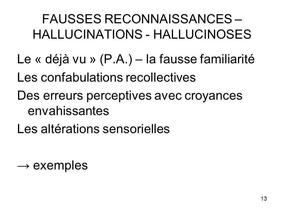13 FAUSSES RECONNAISSANCES – HALLUCINATIONS - HALLUCINOSES Le « déjà vu » (P.A.) – la fausse familiarité Les confabulations recollectives Des erreurs