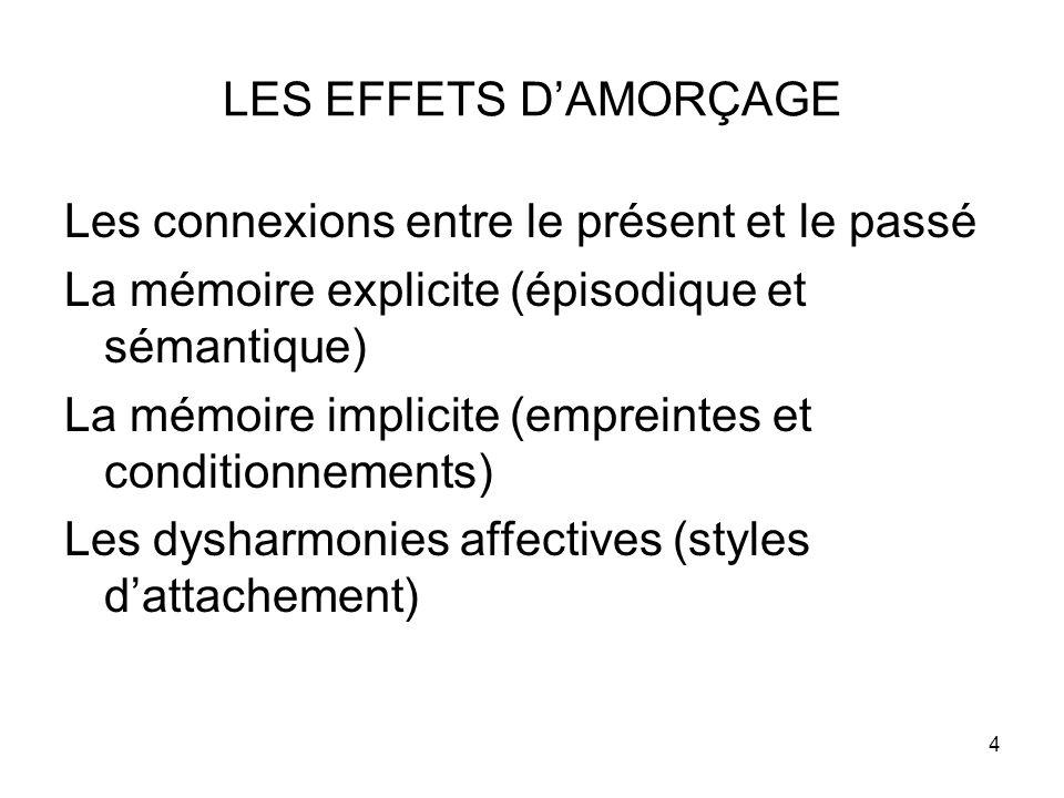 4 LES EFFETS D'AMORÇAGE Les connexions entre le présent et le passé La mémoire explicite (épisodique et sémantique) La mémoire implicite (empreintes et conditionnements) Les dysharmonies affectives (styles d'attachement)