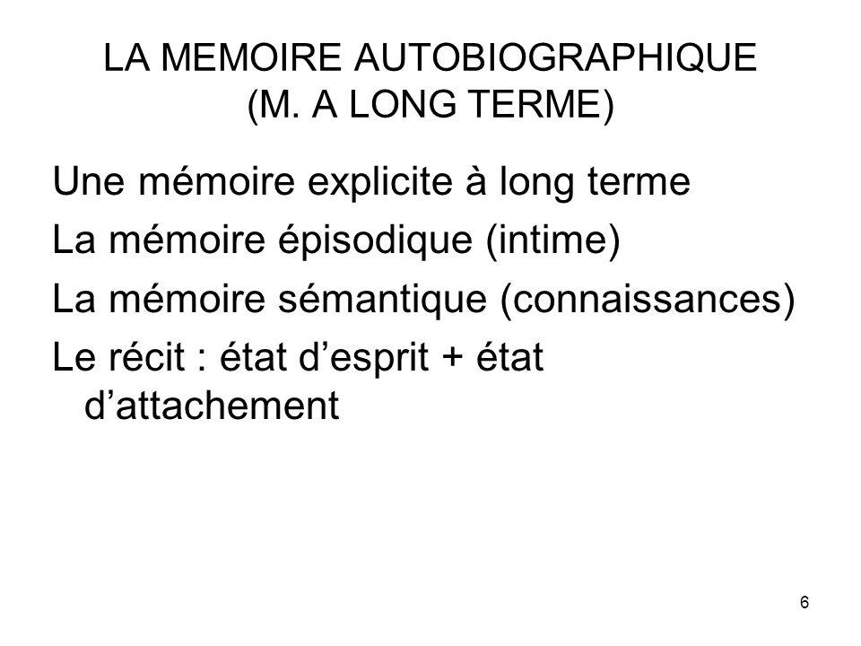 6 LA MEMOIRE AUTOBIOGRAPHIQUE (M. A LONG TERME) Une mémoire explicite à long terme La mémoire épisodique (intime) La mémoire sémantique (connaissances