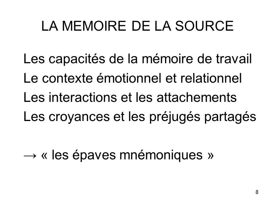 8 LA MEMOIRE DE LA SOURCE Les capacités de la mémoire de travail Le contexte émotionnel et relationnel Les interactions et les attachements Les croyances et les préjugés partagés → « les épaves mnémoniques »