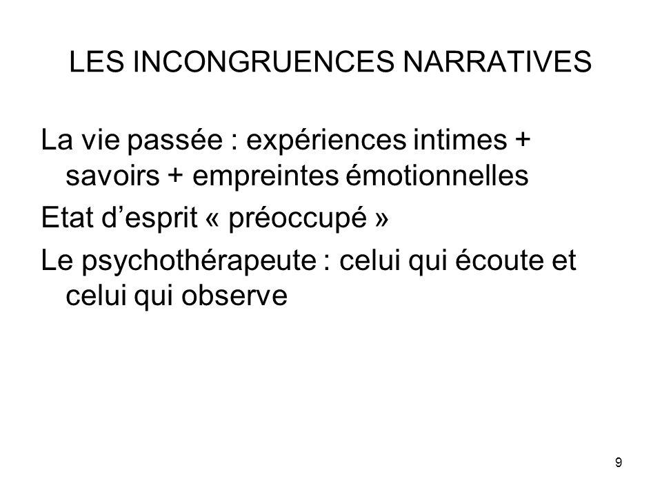 9 LES INCONGRUENCES NARRATIVES La vie passée : expériences intimes + savoirs + empreintes émotionnelles Etat d'esprit « préoccupé » Le psychothérapeut