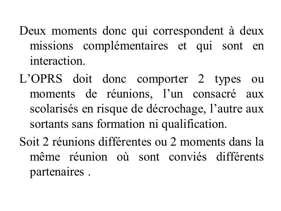 Deux moments donc qui correspondent à deux missions complémentaires et qui sont en interaction. L'OPRS doit donc comporter 2 types ou moments de réuni
