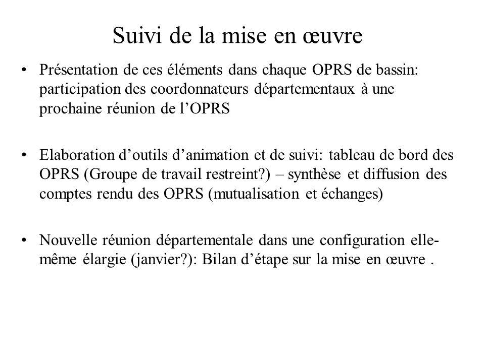Suivi de la mise en œuvre Présentation de ces éléments dans chaque OPRS de bassin: participation des coordonnateurs départementaux à une prochaine réu