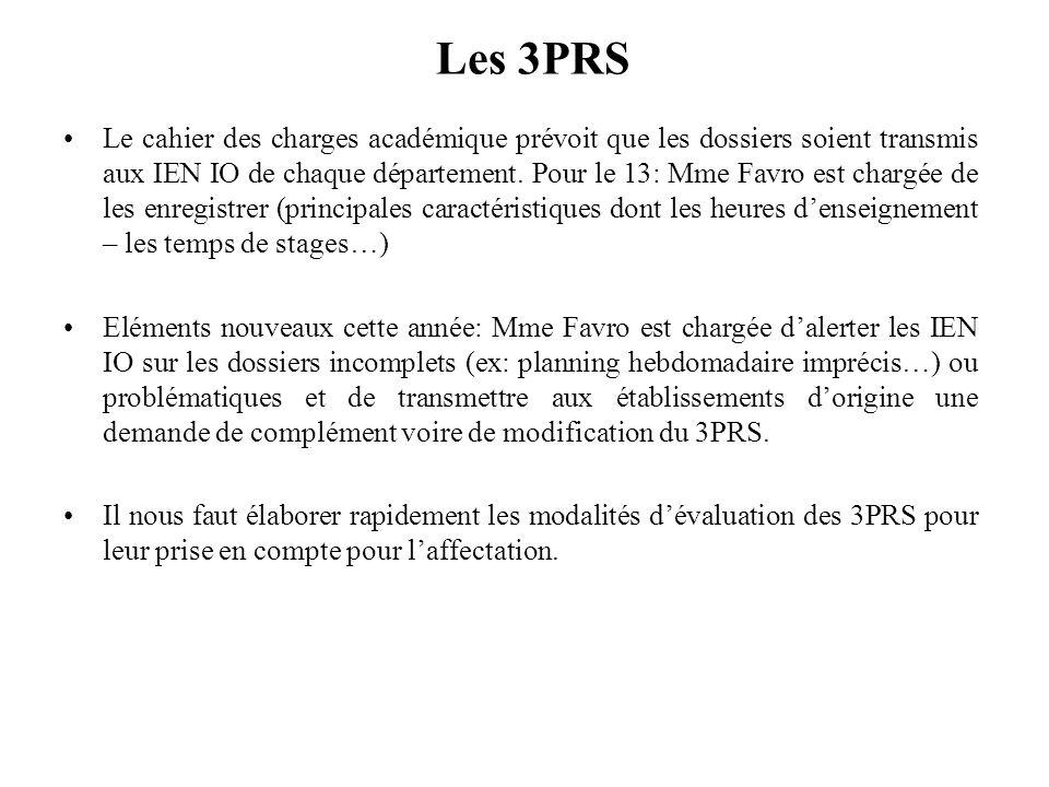 Les 3PRS Le cahier des charges académique prévoit que les dossiers soient transmis aux IEN IO de chaque département. Pour le 13: Mme Favro est chargée