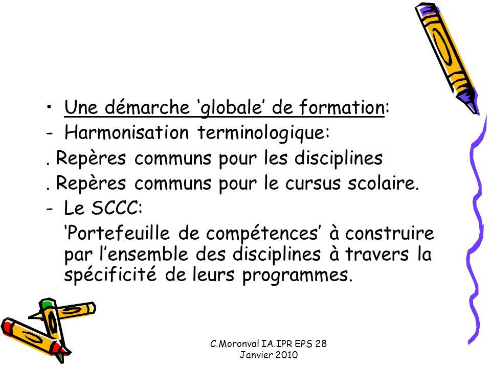C.Moronval IA.IPR EPS 28 Janvier 2010 Une démarche 'globale' de formation: -Harmonisation terminologique:. Repères communs pour les disciplines. Repèr