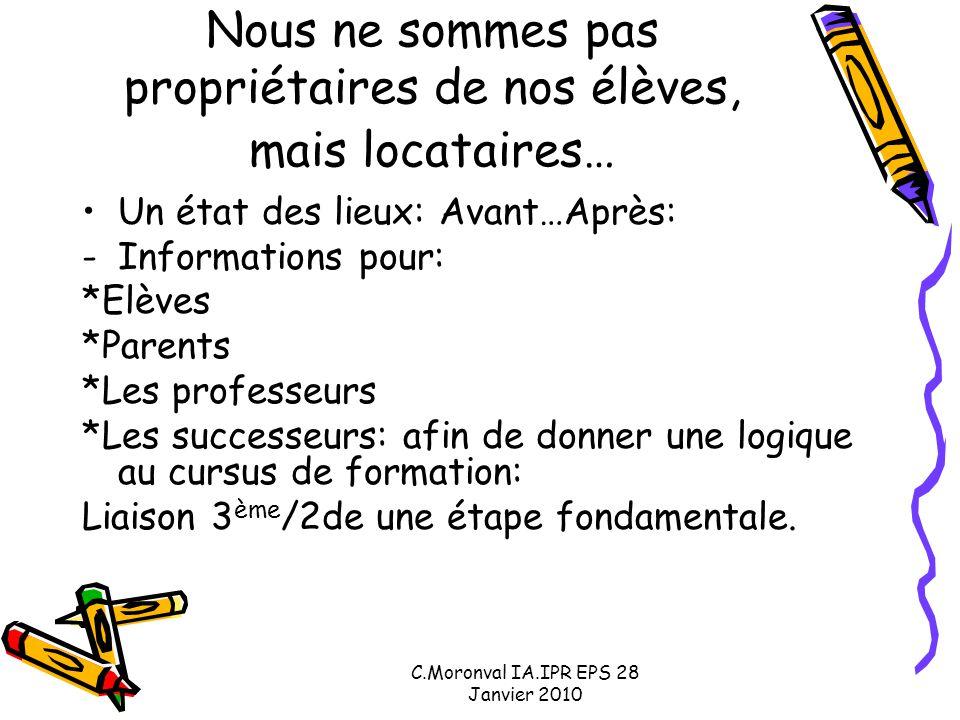 C.Moronval IA.IPR EPS 28 Janvier 2010 Nous ne sommes pas propriétaires de nos élèves, mais locataires… Un état des lieux: Avant…Après: -Informations p