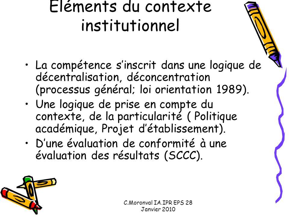 C.Moronval IA.IPR EPS 28 Janvier 2010 Eléments du contexte institutionnel La compétence s'inscrit dans une logique de décentralisation, déconcentration (processus général; loi orientation 1989).