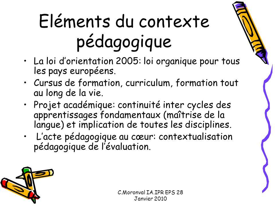 C.Moronval IA.IPR EPS 28 Janvier 2010 Eléments du contexte pédagogique La loi d'orientation 2005: loi organique pour tous les pays européens. Cursus d