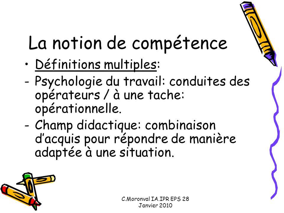 C.Moronval IA.IPR EPS 28 Janvier 2010 La notion de compétence: témoin d'un changement : -Réactualise l'opposition de la culture gratuite et de l'utilitarisme: l'école doit-elle faire acquérir des connaissances ou développer des compétences.