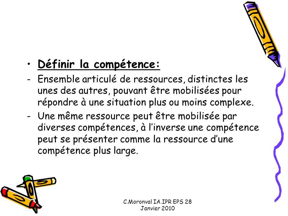 C.Moronval IA.IPR EPS 28 Janvier 2010 Définir la compétence: -Ensemble articulé de ressources, distinctes les unes des autres, pouvant être mobilisées pour répondre à une situation plus ou moins complexe.