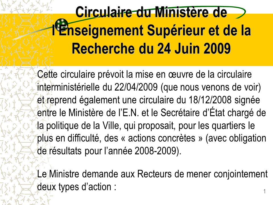 1 Circulaire du Ministère de l'Enseignement Supérieur et de la Recherche du 24 Juin 2009 Cette circulaire prévoit la mise en œuvre de la circulaire interministérielle du 22/04/2009 (que nous venons de voir) et reprend également une circulaire du 18/12/2008 signée entre le Ministère de l'E.N.