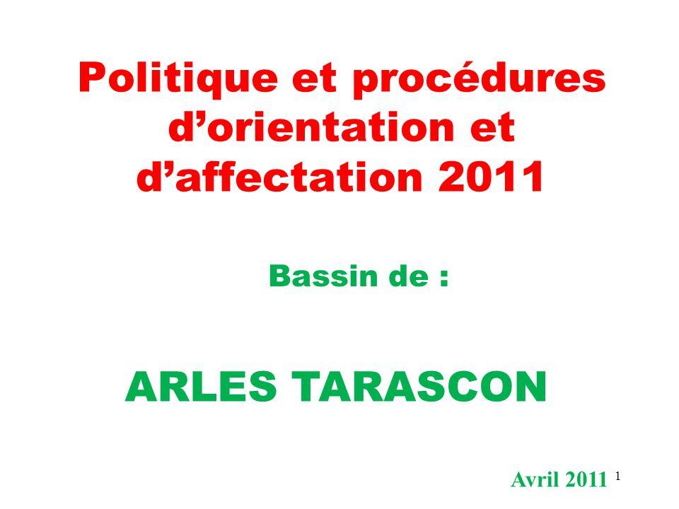 1 Politique et procédures d'orientation et d'affectation 2011 Bassin de : ARLES TARASCON Avril 2011