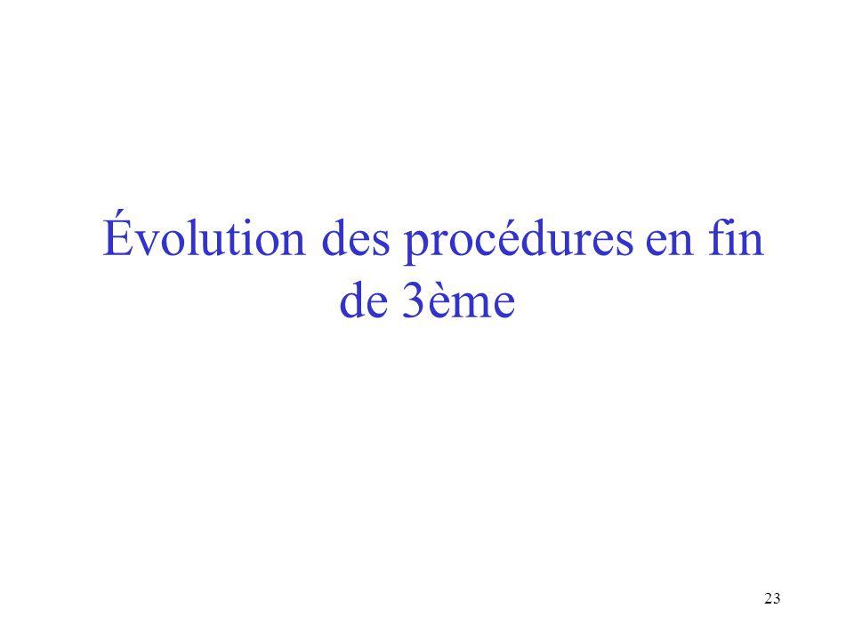 23 Évolution des procédures en fin de 3ème
