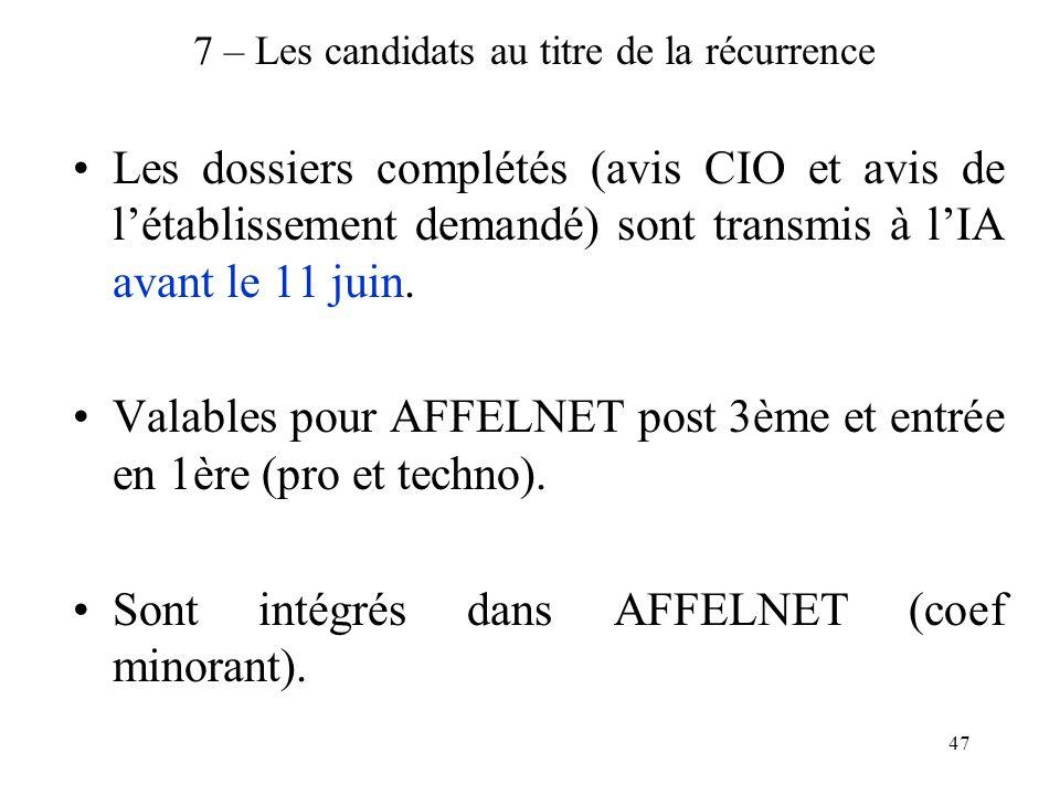 47 7 – Les candidats au titre de la récurrence Les dossiers complétés (avis CIO et avis de l'établissement demandé) sont transmis à l'IA avant le 11 juin.