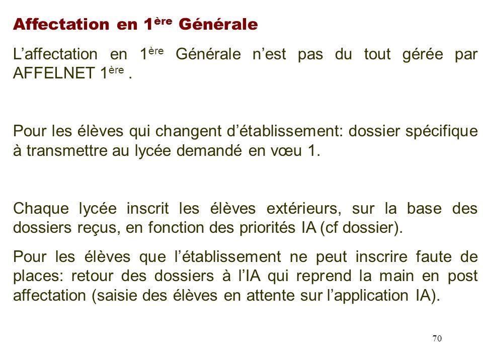 70 Affectation en 1 ère Générale L'affectation en 1 ère Générale n'est pas du tout gérée par AFFELNET 1 ère.