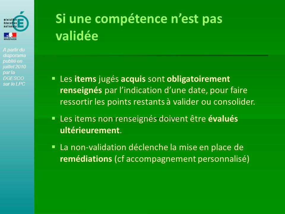  Les items jugés acquis sont obligatoirement renseignés par l'indication d'une date, pour faire ressortir les points restants à valider ou consolider