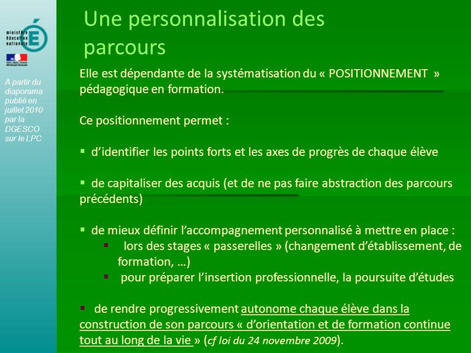 Une personnalisation des parcours Elle est dépendante de la systématisation du « POSITIONNEMENT » pédagogique en formation. Ce positionnement permet :