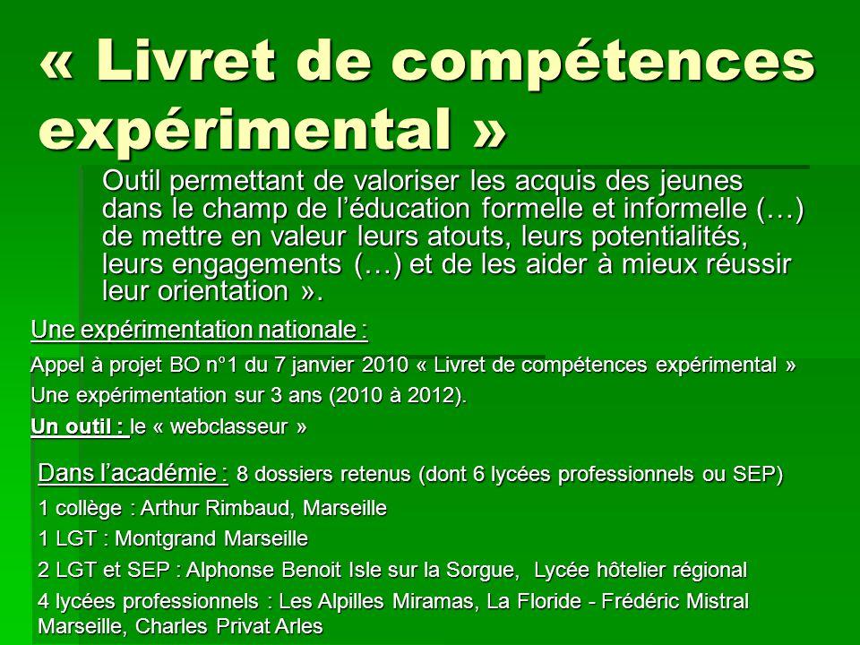 « Livret de compétences expérimental » Une expérimentation nationale : Appel à projet BO n°1 du 7 janvier 2010 « Livret de compétences expérimental »