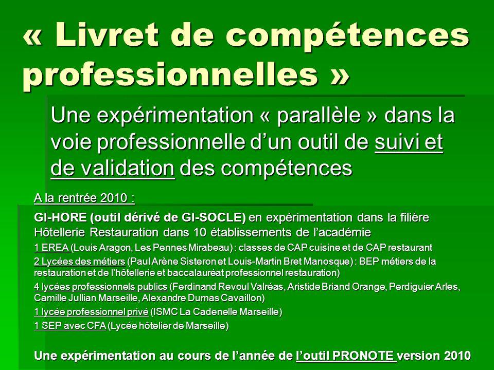 Une expérimentation « parallèle » dans la voie professionnelle d'un outil de suivi et de validation des compétences A la rentrée 2010 : GI-HORE (outil