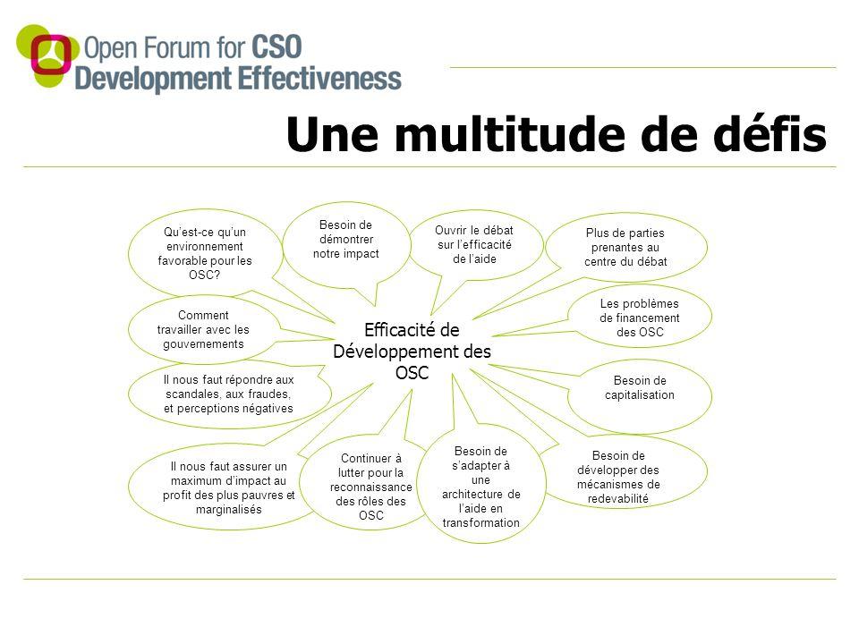Une multitude de défis Efficacité de Développement des OSC Qu'est-ce qu'un environnement favorable pour les OSC? Il nous faut répondre aux scandales,