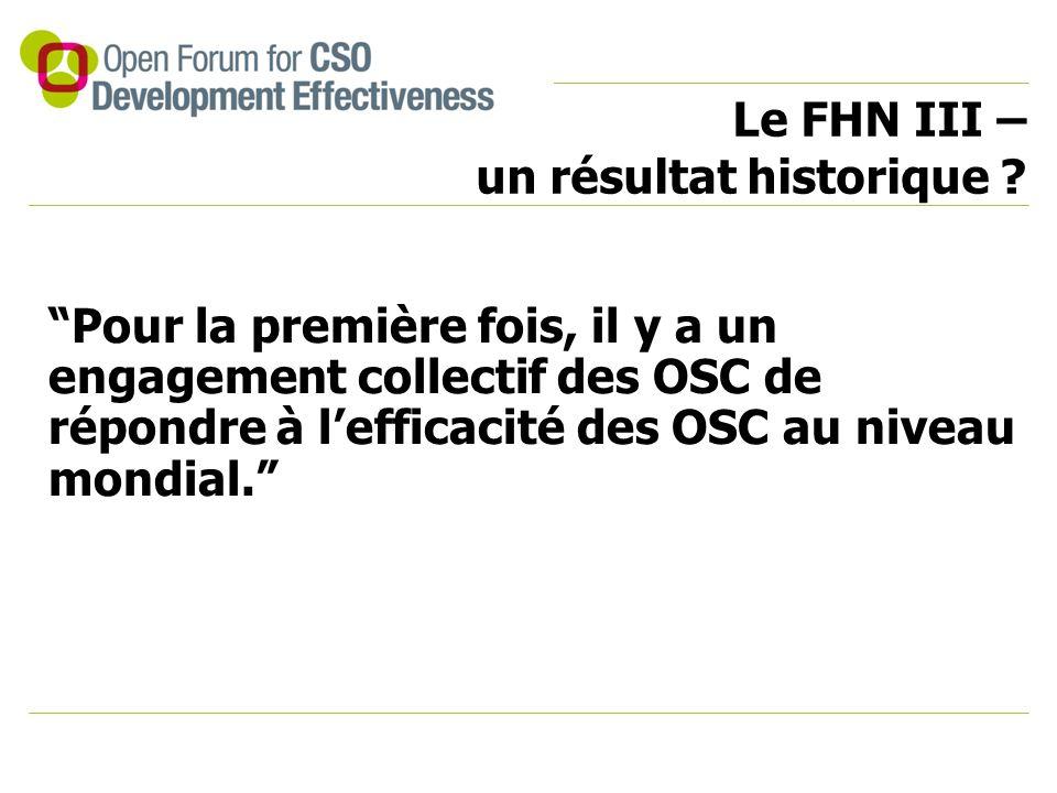 """Le FHN III – un résultat historique ? """"Pour la première fois, il y a un engagement collectif des OSC de répondre à l'efficacité des OSC au niveau mond"""