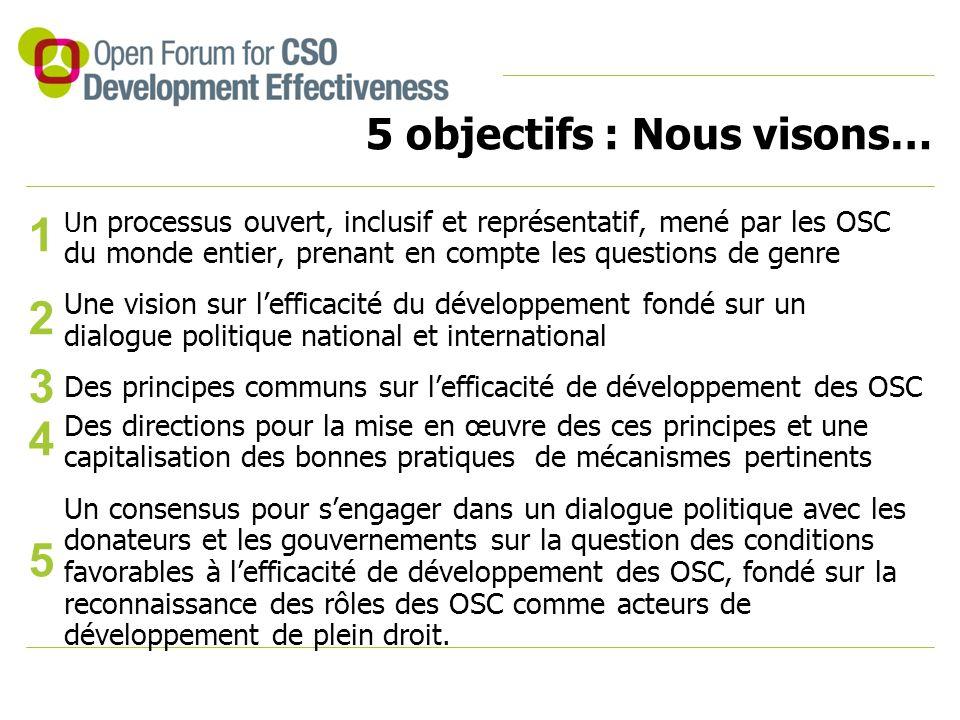 5 objectifs : Nous visons… U n processus ouvert, inclusif et représentatif, mené par les OSC du monde entier, prenant en compte les questions de genre