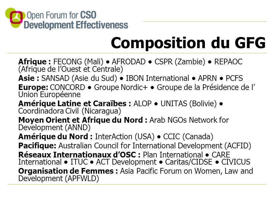 Afrique : FECONG (Mali) AFRODAD CSPR (Zambie) REPAOC (Afrique de l'Ouest et Centrale) Asie : SANSAD (Asie du Sud) IBON International APRN PCFS Europe: