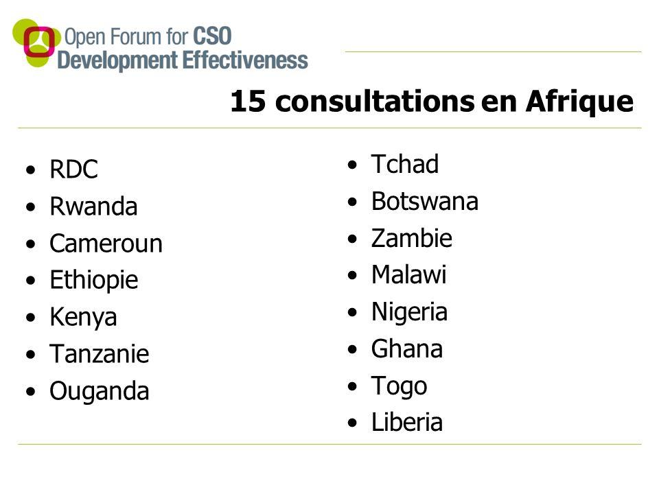 15 consultations en Afrique RDC Rwanda Cameroun Ethiopie Kenya Tanzanie Ouganda Tchad Botswana Zambie Malawi Nigeria Ghana Togo Liberia