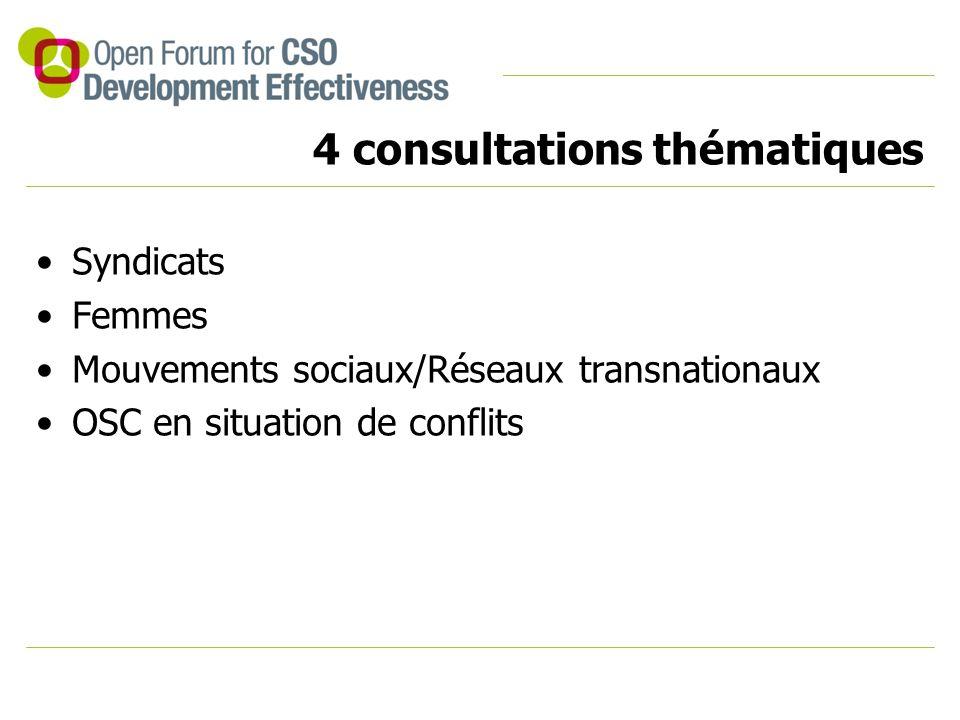 4 consultations thématiques Syndicats Femmes Mouvements sociaux/Réseaux transnationaux OSC en situation de conflits