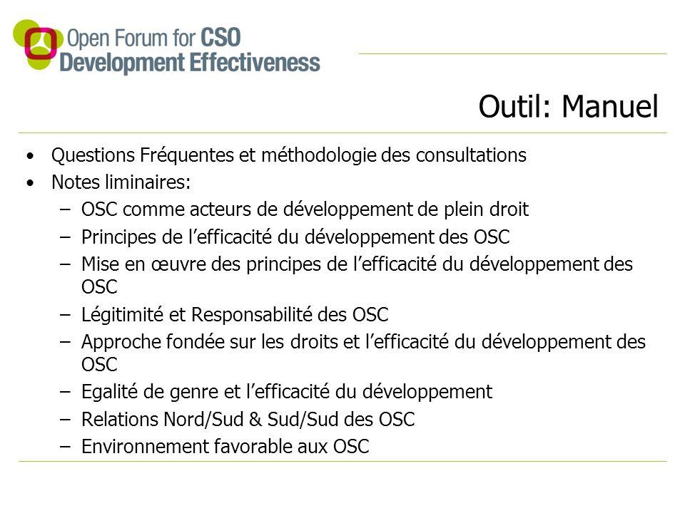 Outil: Manuel Questions Fréquentes et méthodologie des consultations Notes liminaires: –OSC comme acteurs de développement de plein droit –Principes de l'efficacité du développement des OSC –Mise en œuvre des principes de l'efficacité du développement des OSC –Légitimité et Responsabilité des OSC –Approche fondée sur les droits et l'efficacité du développement des OSC –Egalité de genre et l'efficacité du développement –Relations Nord/Sud & Sud/Sud des OSC –Environnement favorable aux OSC