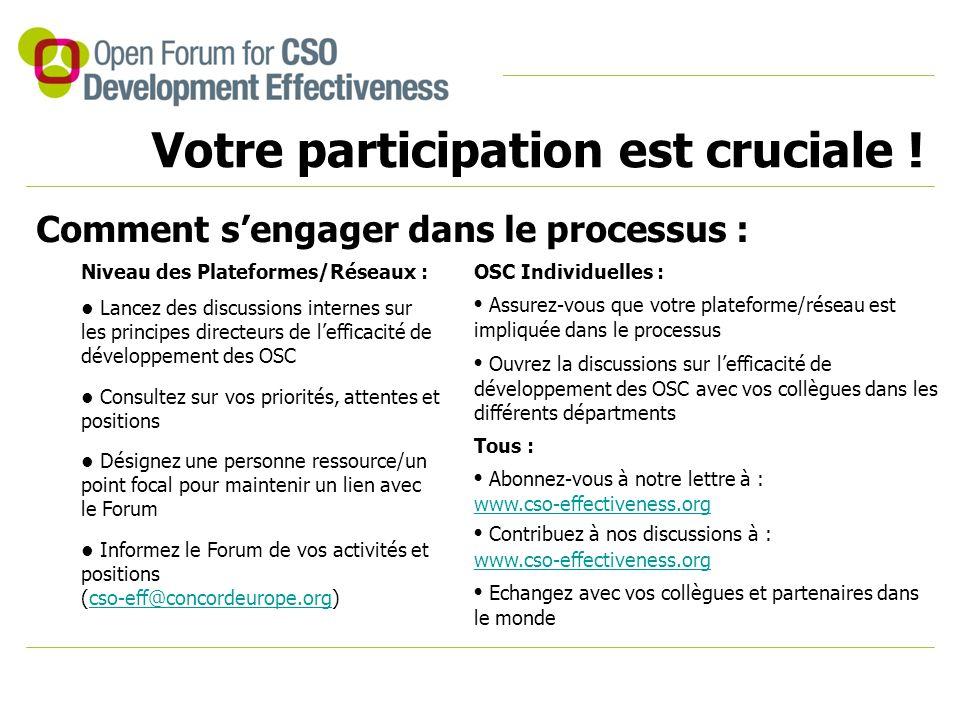 Votre participation est cruciale ! Comment s'engager dans le processus : Niveau des Plateformes/Réseaux : Lancez des discussions internes sur les prin